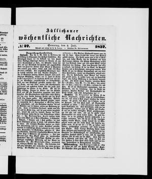Züllichauer wöchentliche Nachrichten vom 02.07.1837