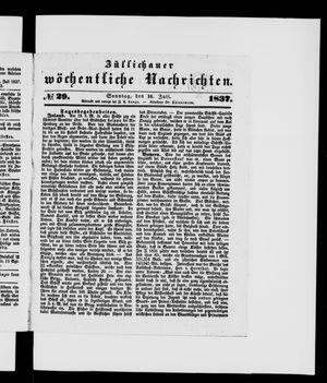 Züllichauer wöchentliche Nachrichten vom 16.07.1837