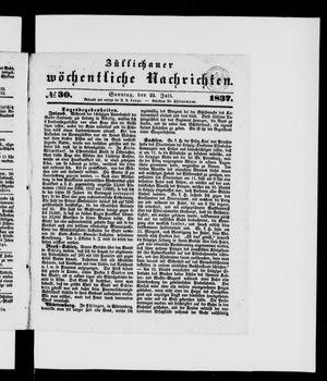 Züllichauer wöchentliche Nachrichten vom 23.07.1837