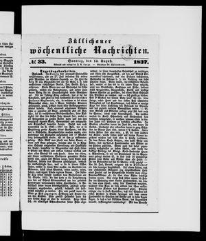 Züllichauer wöchentliche Nachrichten vom 13.08.1837
