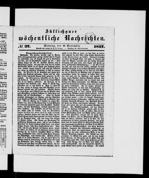 Züllichauer wöchentliche Nachrichten vom 10.09.1837