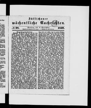 Züllichauer wöchentliche Nachrichten vom 17.09.1837