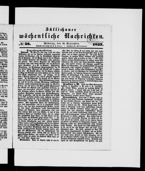 Züllichauer wöchentliche Nachrichten on Sep 24, 1837
