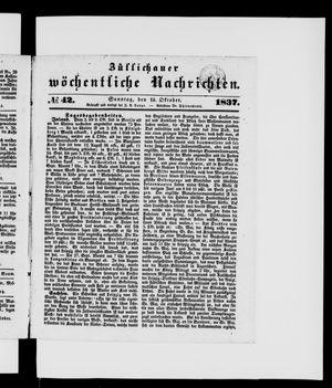 Züllichauer wöchentliche Nachrichten vom 15.10.1837
