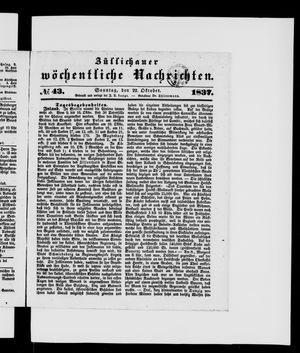 Züllichauer wöchentliche Nachrichten vom 22.10.1837