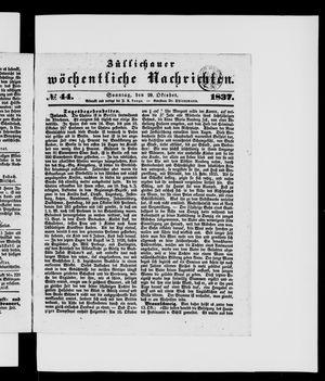 Züllichauer wöchentliche Nachrichten vom 29.10.1837
