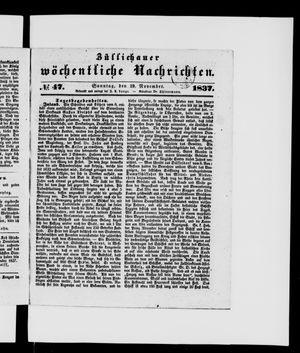 Züllichauer wöchentliche Nachrichten vom 19.11.1837