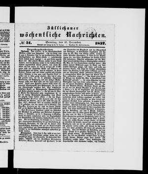 Züllichauer wöchentliche Nachrichten on Dec 17, 1837