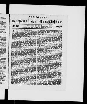 Züllichauer wöchentliche Nachrichten vom 24.12.1837