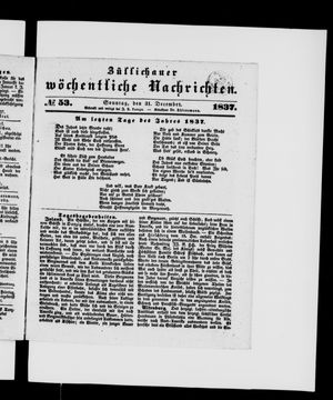 Züllichauer wöchentliche Nachrichten vom 31.12.1837