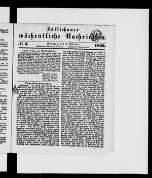 Züllichauer wöchentliche Nachrichten vom 03.02.1839
