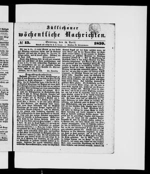 Züllichauer wöchentliche Nachrichten on Apr 14, 1839
