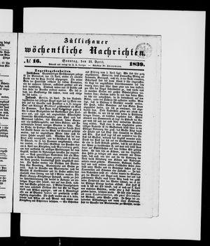 Züllichauer wöchentliche Nachrichten on Apr 21, 1839