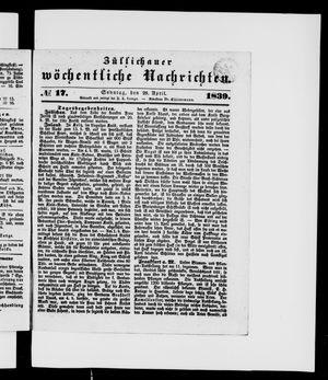 Züllichauer wöchentliche Nachrichten vom 28.04.1839