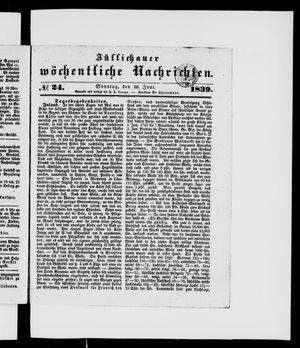 Züllichauer wöchentliche Nachrichten vom 16.06.1839