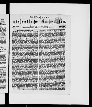 Züllichauer wöchentliche Nachrichten vom 30.06.1839