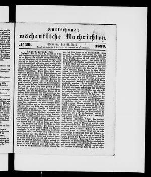 Züllichauer wöchentliche Nachrichten vom 21.07.1839