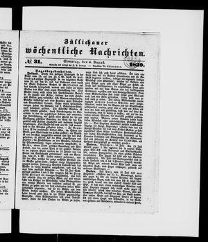 Züllichauer wöchentliche Nachrichten vom 04.08.1839