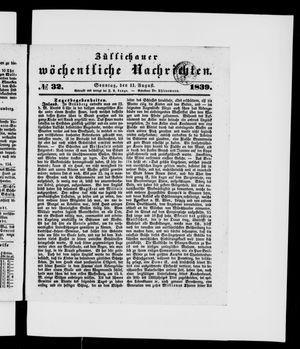 Züllichauer wöchentliche Nachrichten vom 11.08.1839
