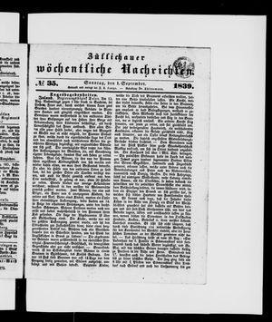 Züllichauer wöchentliche Nachrichten vom 01.09.1839