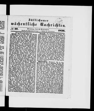 Züllichauer wöchentliche Nachrichten vom 15.09.1839