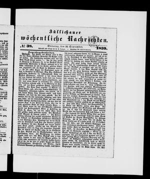 Züllichauer wöchentliche Nachrichten on Sep 22, 1839
