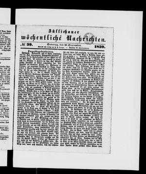Züllichauer wöchentliche Nachrichten on Sep 29, 1839