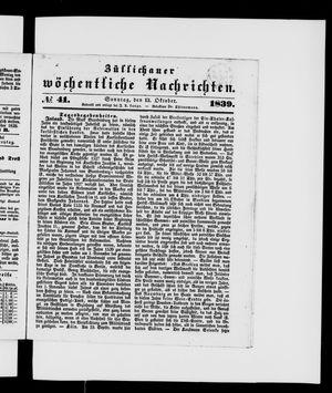 Züllichauer wöchentliche Nachrichten on Oct 13, 1839