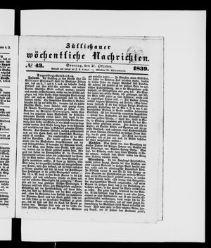 Züllichauer wöchentliche Nachrichten on Oct 27, 1839