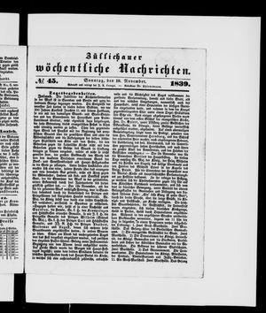 Züllichauer wöchentliche Nachrichten vom 10.11.1839