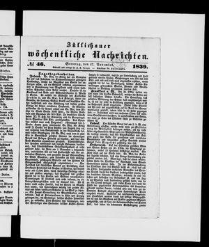 Züllichauer wöchentliche Nachrichten vom 17.11.1839
