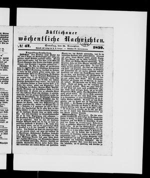Züllichauer wöchentliche Nachrichten on Nov 24, 1839