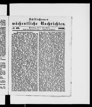 Züllichauer wöchentliche Nachrichten vom 01.12.1839