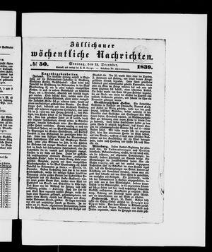 Züllichauer wöchentliche Nachrichten vom 15.12.1839