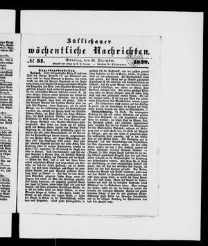 Züllichauer wöchentliche Nachrichten vom 22.12.1839