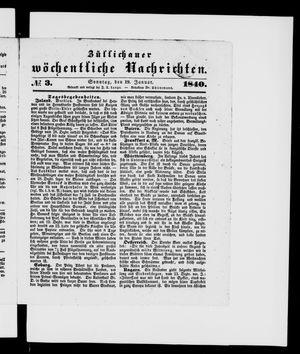Züllichauer wöchentliche Nachrichten vom 19.01.1840