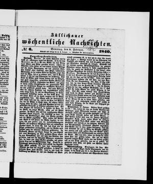 Züllichauer wöchentliche Nachrichten vom 09.02.1840