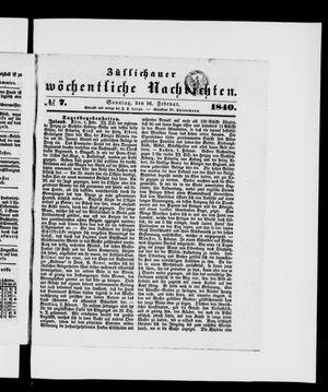 Züllichauer wöchentliche Nachrichten vom 16.02.1840