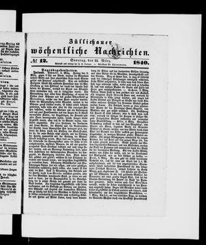 Züllichauer wöchentliche Nachrichten vom 22.03.1840