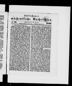 Züllichauer wöchentliche Nachrichten vom 19.04.1840