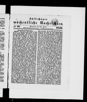 Züllichauer wöchentliche Nachrichten vom 26.04.1840