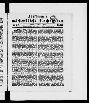 Züllichauer wöchentliche Nachrichten vom 05.07.1840