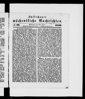 Züllichauer wöchentliche Nachrichten vom 19.07.1840
