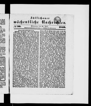 Züllichauer wöchentliche Nachrichten vom 26.07.1840