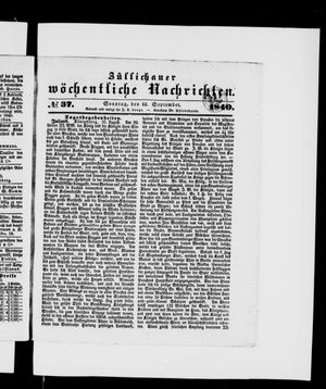 Züllichauer wöchentliche Nachrichten vom 13.09.1840