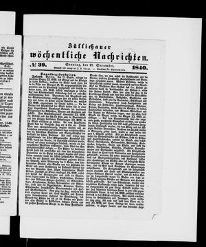 Züllichauer wöchentliche Nachrichten vom 27.09.1840