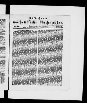 Züllichauer wöchentliche Nachrichten vom 11.10.1840