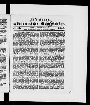 Züllichauer wöchentliche Nachrichten vom 18.10.1840