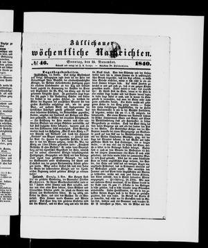 Züllichauer wöchentliche Nachrichten vom 15.11.1840