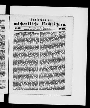 Züllichauer wöchentliche Nachrichten vom 22.11.1840